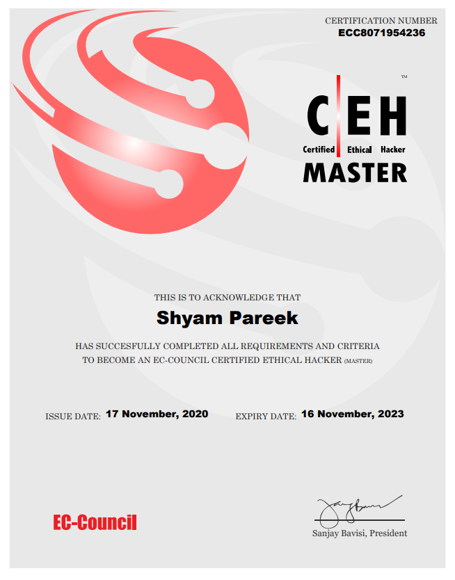 Certified Ethical Hacker (Master)